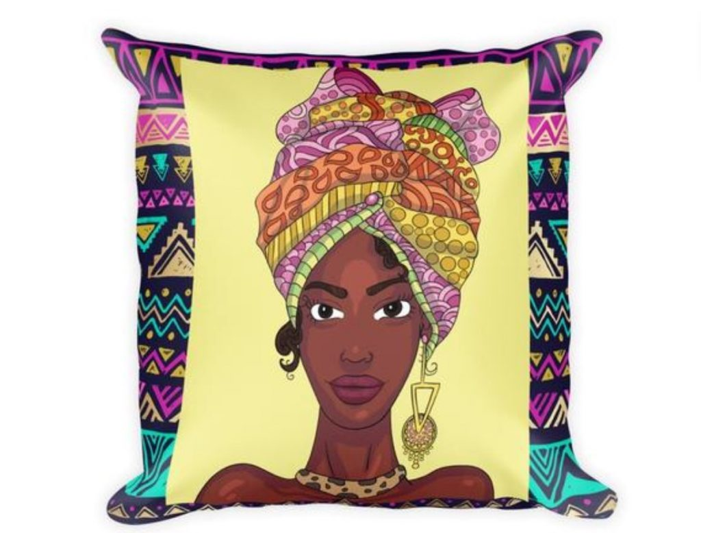 """Headwrap Queen"" Square Pillow $34.99"