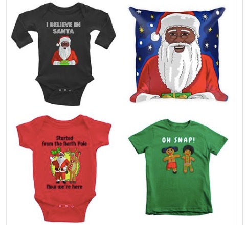 For a Limited Time Only: Black Santa pillows, onesies, and more!
